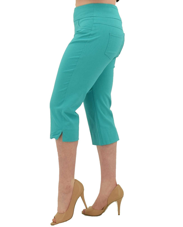 Sea Green Ruby Rd 55194 Pull-On Tech Capri