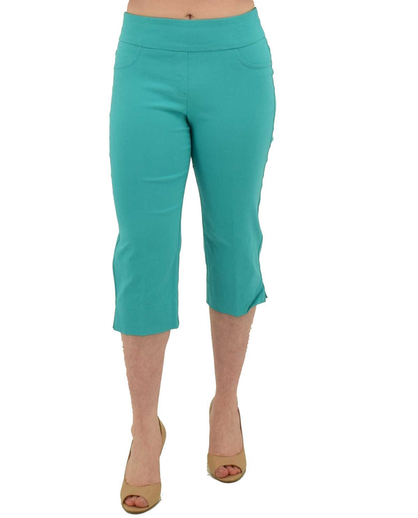Sea Green Ruby Rd 55194 Pull-On Tech Capri with smooth waistband