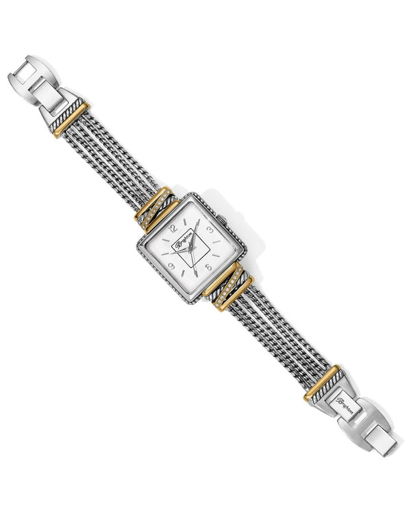 Silver-gold Brighton W10432 Neptune's Rings Watch with braided band and square face