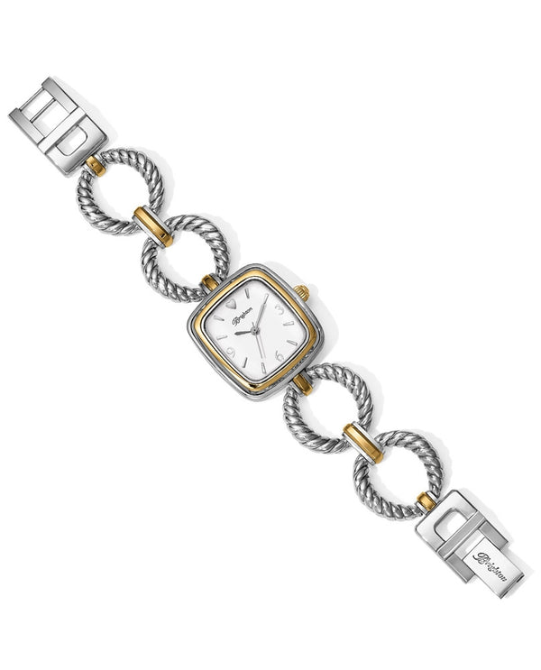 Silver-gold Brighton W10442 Kindred Watch with square face and twisted round mixed metal motif