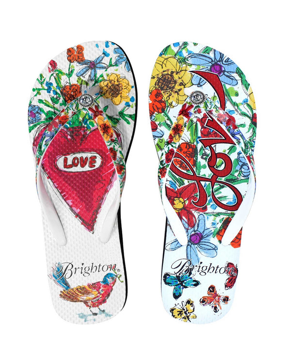 Multi Brighton Lover Flip Flop hand-drawn colorful cartoon flip flops for women