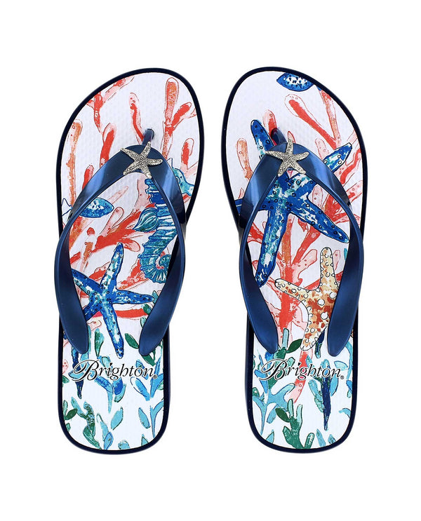 Brighton Scuba Flip Flop have an ocean floor print with starfish and coral women's flip flops