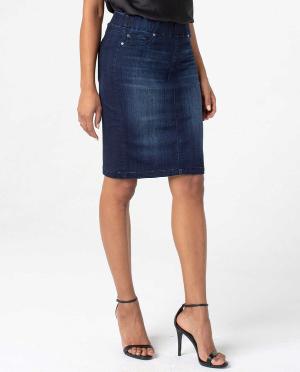 LM6107F64 Denim Liverpool Jeans Pull On Pencil Skrt mid rise pencil skirt for women
