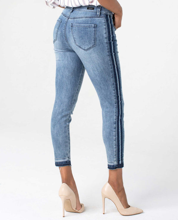 LM7136TT Denim Liverpool Abby Crop Skinny Jeans with trendy vintage stripe down the sides