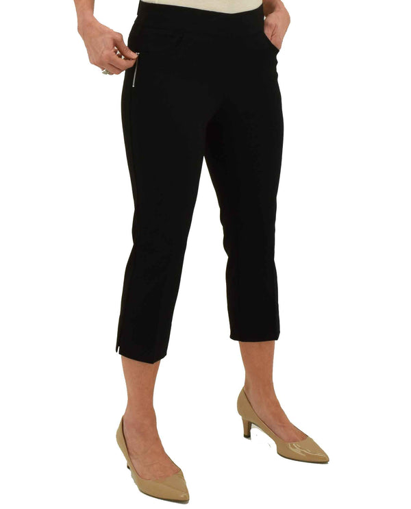 Black Renuar Pull On Crop Pants R8078 E730 with stylish zipper detail at hip
