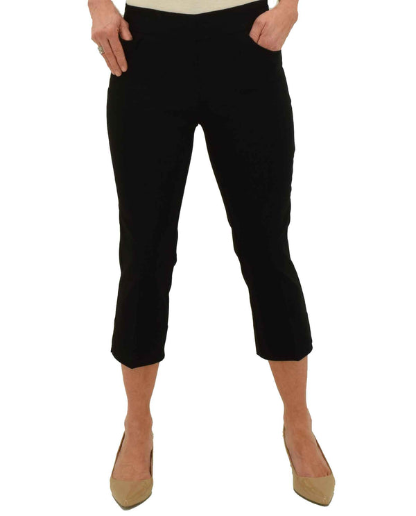 Black Renuar Pull On Crop Pants R8078 E730 with functional front pockets