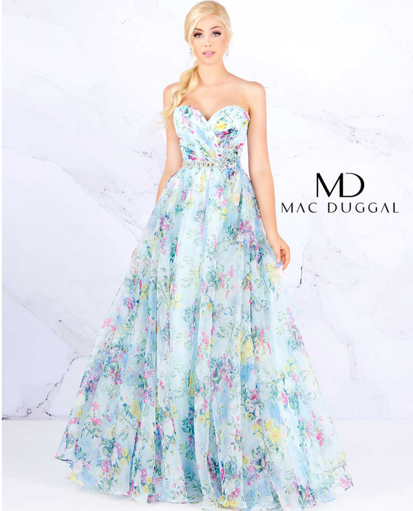 Mac Duggal 40768H Blue Floral Empire Gown blue strapless ball gown with flowers