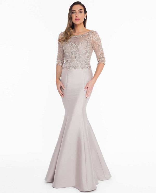 Terani Couture 1821M7552 Empire Beaded Dress champagne evening gown
