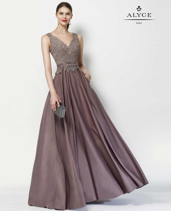 Alyce 27102 Stone Belted Ballgown full ball gown sleeveless gown
