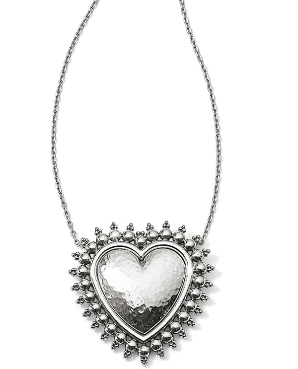 Brighton JM0360 Telluride Heart Necklace simple hammered silver heart necklace
