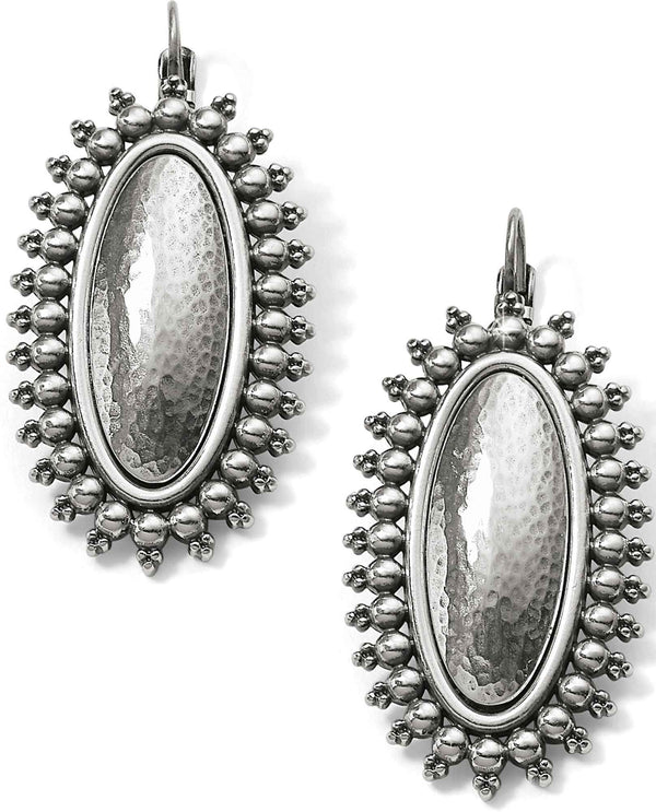 Brighton JA5090 Telluride Leverback Earrings hammered silver oval earrings