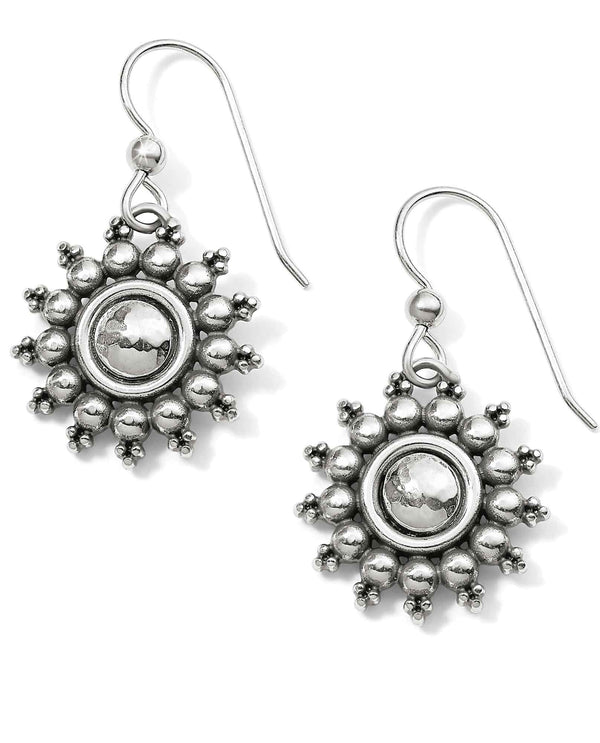 Brighton JA5100 Telluride French Wire Earrings silver hammered sun shape earrings