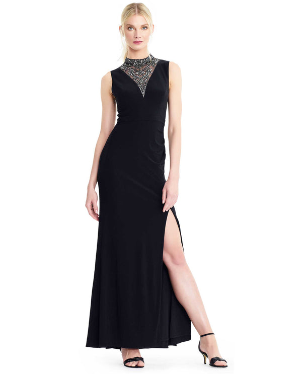 Adrianna Papell AP1E204134 Beaded Inset Neck Evening Dress Black