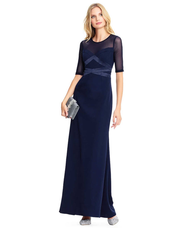 Adrianna Papell AP1E203438 Mesh Inset Gown Navy