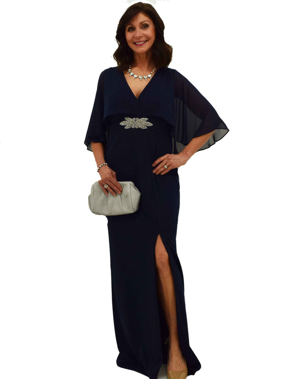 Marina 262265 Navy Long Capelet Dress