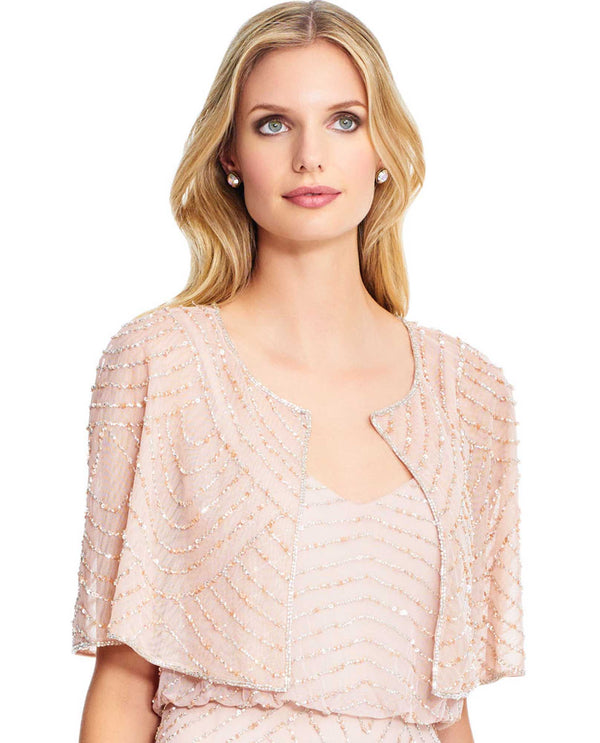 Adrianna Papell AP1E203971 Beaded Capelet in Blush