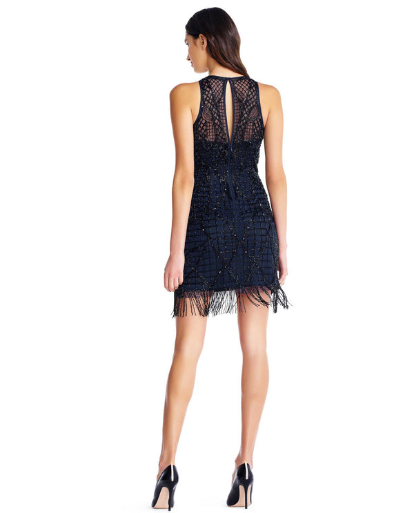 Aidan Mattox MD1E202820 Sleeveless Fringe Hem Dress Black