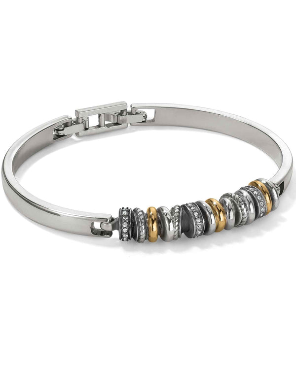 Brighton JF6152 Neptune's Rings Bar Bracelet mixed metal rings mixed with Swarovski crystals