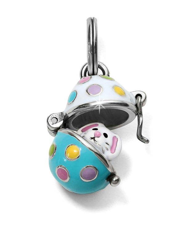 Brighton JC4893 Easter Egg Charm pastel easter egg charm that opens to a white rabbit