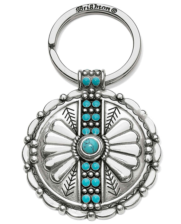Brighton E18050 Southwest Dream Trail Key Fob silver key fob with turquoise accents