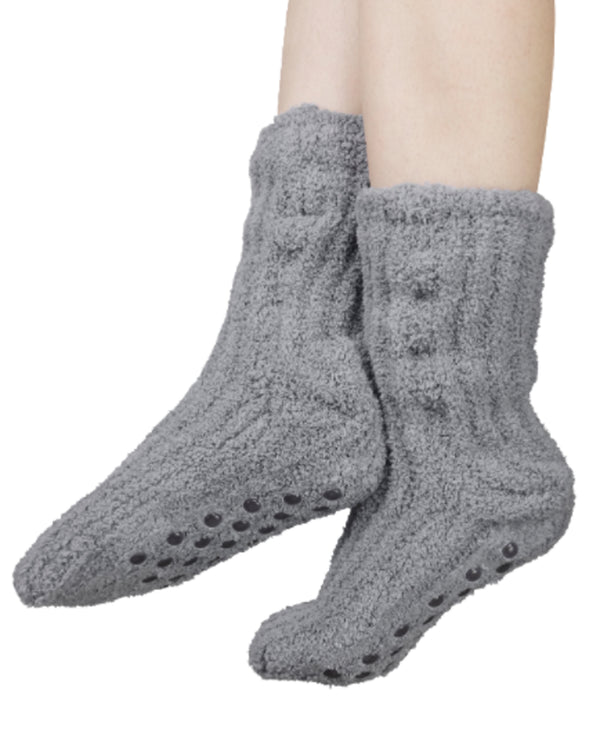 Shea Butter Slipper Socks Grey