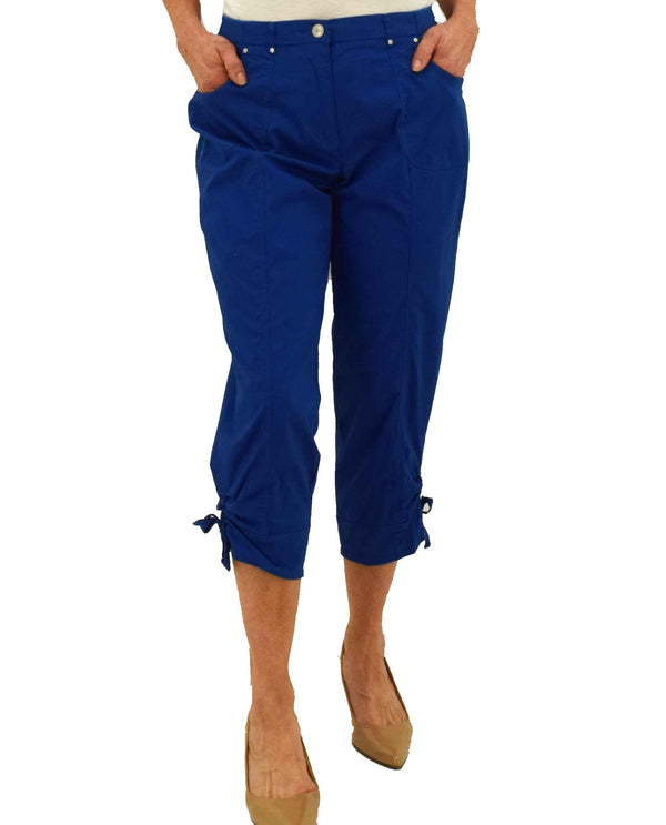 Ruby Rd 45100 Ruched Hem Detail Capri royal blue capris with elastic waistband