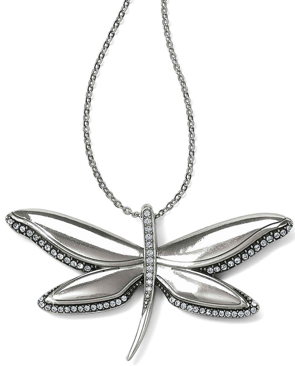 Brighton JM0543 Trust Your Journey Dragonfly Reversible Necklace with clear Swarovski crystals