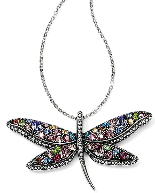Brighton JM0543 Trust Your Journey Dragonfly Reversible Necklace with colorful Swarovski crystals