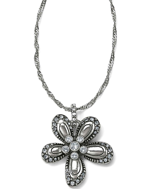 Brighton JM0553 Trust Your Journey Flower Reversible Necklace with clear Swarovski crystals