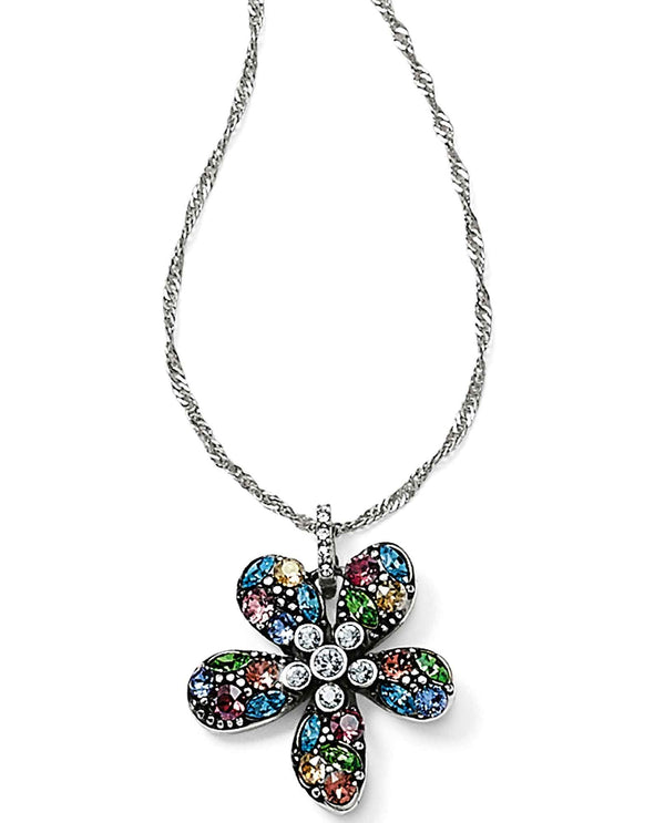 Brighton JM0553 Trust Your Journey Flower Reversible Necklace with multi-colored Swarovski
