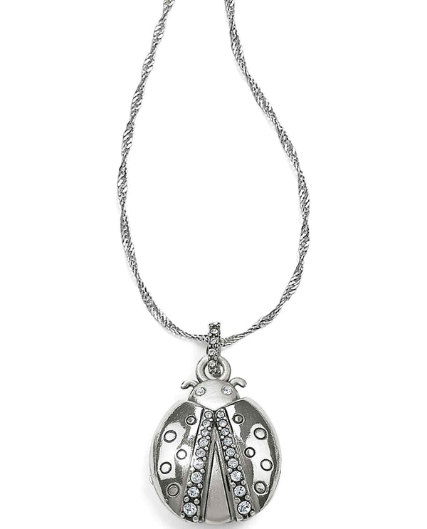 Brighton JM0533 Trust Your Journey Lady Bug Reversible Necklace made of clear Swarovski