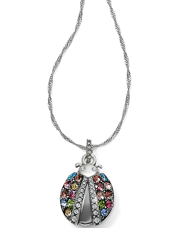 Brighton JM0533 Trust Your Journey Lady Bug Reversible Necklace made of multi-colored Swarovski
