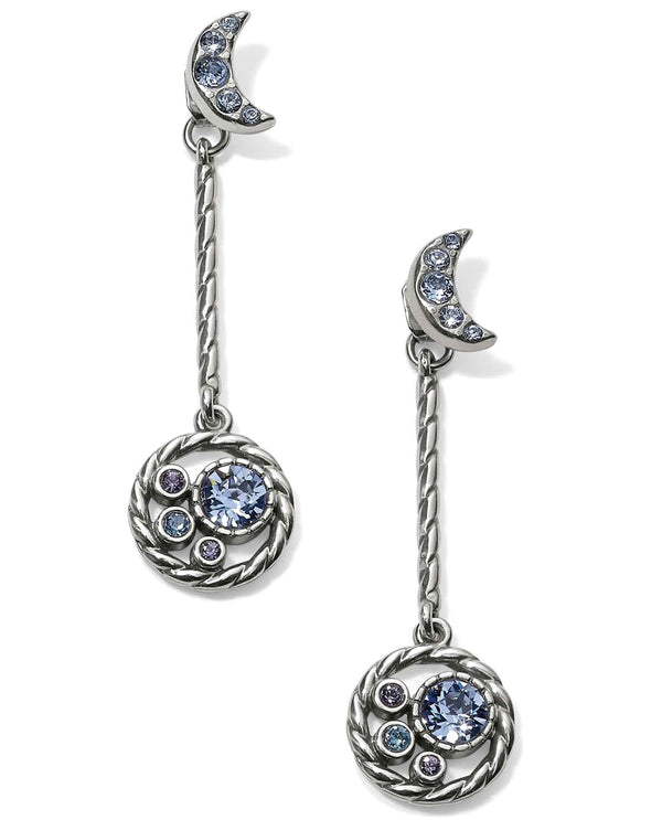 Brighton JA5063 Halo Moon Convertible Post Drop Earrings crescent moon earrings with Swarovski