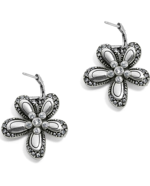 Brighton JA5163 Trust Your Journey Flower Reversible Earrings with clear Swarovski crystals