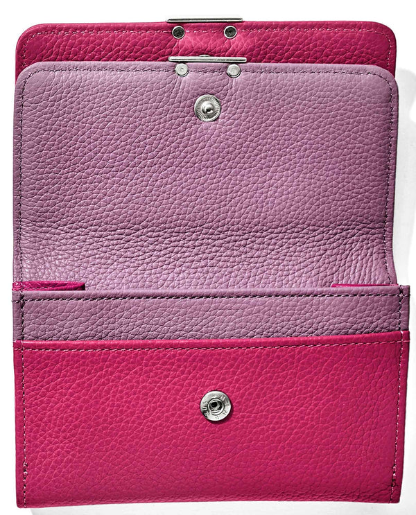 Punch Wisteria Brighton T2243P Barbados Double Flap Medium Wallet hot pink leather wallet with card slots
