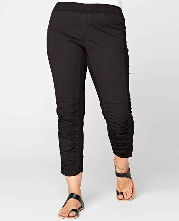 XCVI Wearables 20987W Jetter Crop Legging elastic waist black leggings with jersey side panels