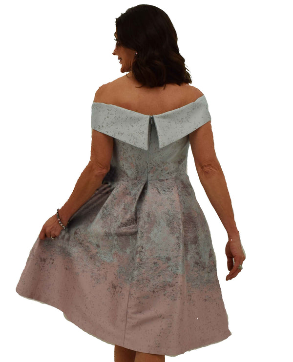 Marina 262664MC Pink Off The Shoulder Taffeta Dress