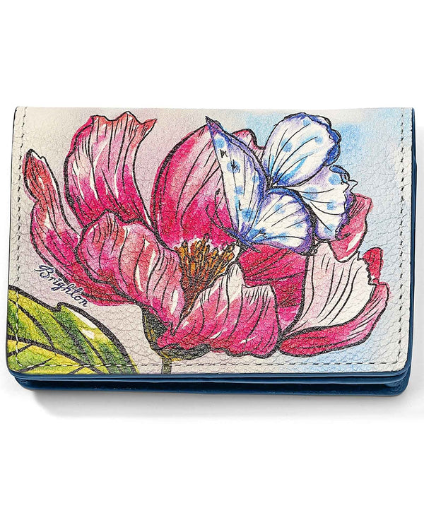 Brighton E3147M Enchanted Garden Card Case leather card case with flower design and butterfly