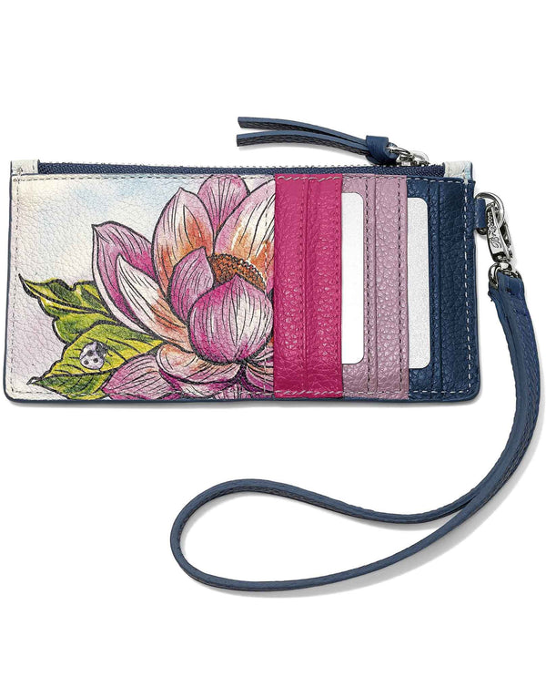 Brighton E5289M Enchanted Garden Card Pouch leather wristlet with card slots and garden design
