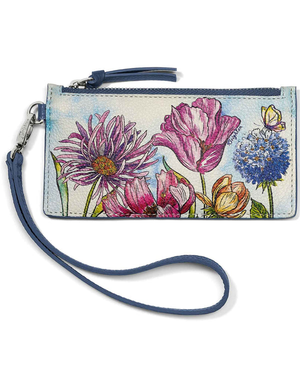 Brighton E5289M Enchanted Garden Card Pouch hand painted floral leather wristlet