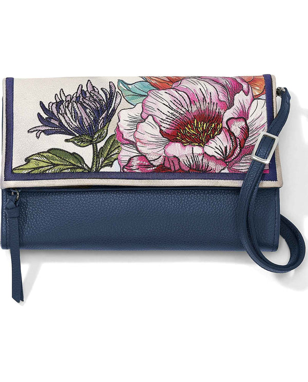 Brighton T4397M Enchanted Garden Embroidered Flap Organizer luxe leather floral print crossbody