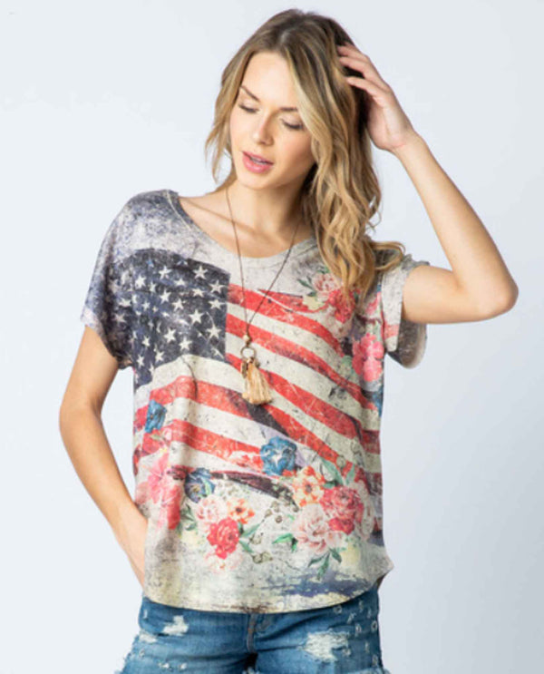 Vocal 18004S Flag Floral Tee distressed American flag tee with flowers