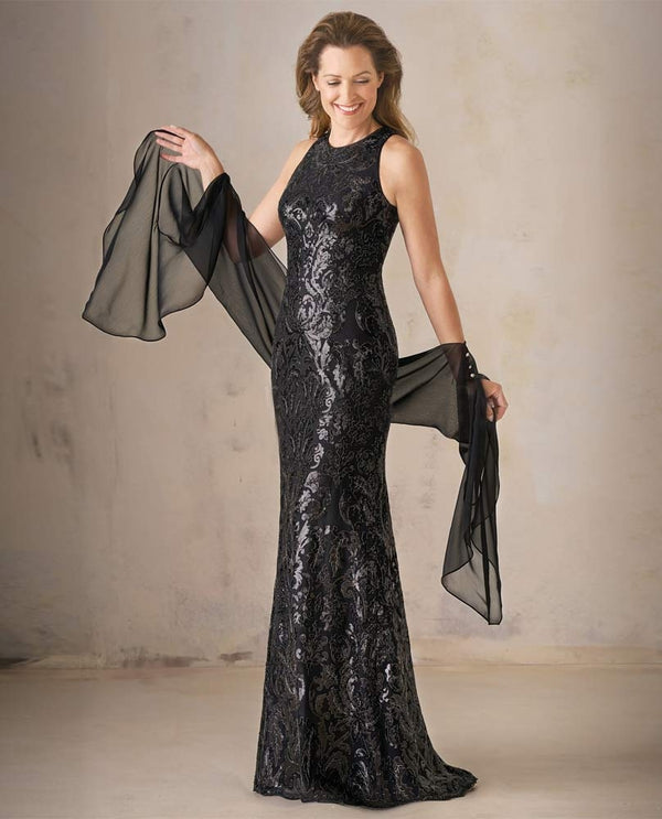 Black Jade Couture K208007 Metallic Embroidered Dress