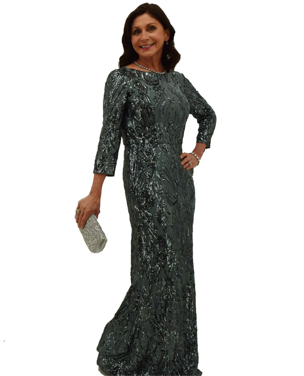 Cachet 59855 Pewter Sequin 3/4 Sleeve Dress