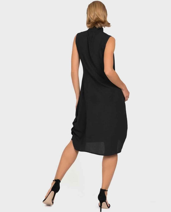 Black Joseph Ribkoff 192412 Cross Tie Neck Detail Dress