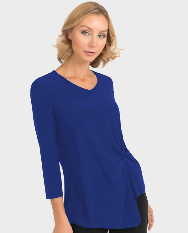 RBLU Royal blue Joseph Ribkoff 193138 Knot Detail V-Neck Top