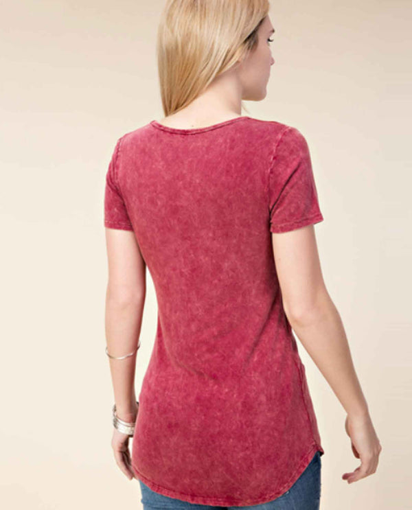Vocal 13957S Red Short Sleeve Top with Dye Print and Stones hi-lo hem short sleeve top