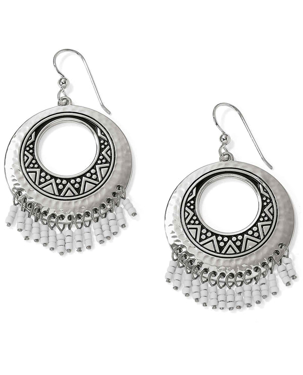 Brighton JA5220 Africa Stories Round Fringe French Wire Earrings exotic silver fringe earrings