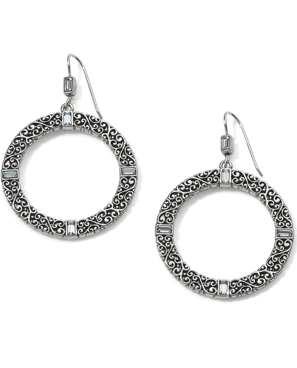 Brighton JA5131 Baroness Round French Wire Earrings round silver earrings with motif