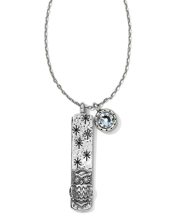 Brighton JM0751 Every Little Thing Blessed Necklace silver bar necklace with light blue Swarovski